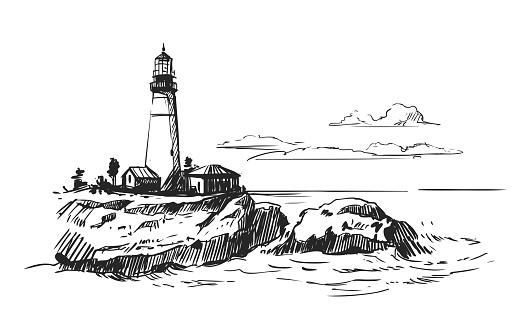 Lighthouse in the sea. Vector illustration. Hand drawn sketch