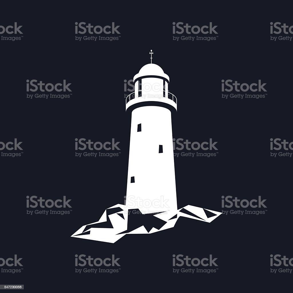 Lighthouse Isolated on Black vector art illustration