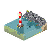 Lighthouse. Isometric illustration of the ocean and rocks. A shark is swimming near the lighthouse. Vector illustration.