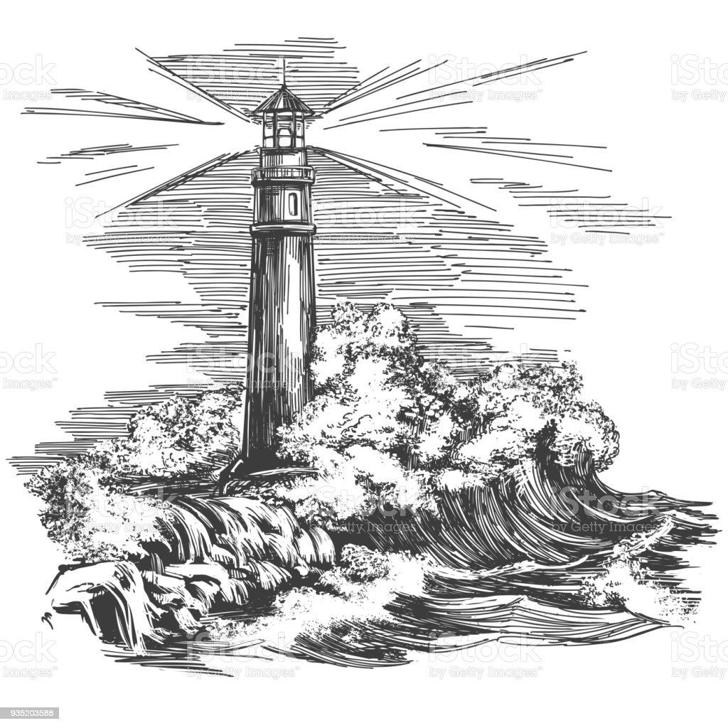 Ilustracion De Faro Faro En La Oscuridad Y El Paisaje De Mar Dibujo