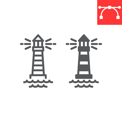 Lighthouse line and glyph icon, sea and ocean, lighthouse vector icon, vector graphics, editable stroke outline sign, eps 10.