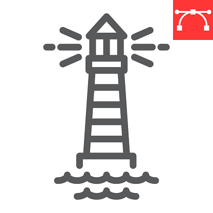 Lighthouse line icon, sea and ocean, lighthouse vector icon, vector graphics, editable stroke outline sign, eps 10.