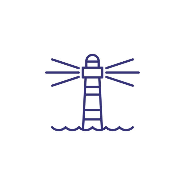 Lighthouse line icon Lighthouse line icon. Tower, beacon light, sea. Navigation concept. Can be used for topics like direction, location, sailing lighthouse stock illustrations