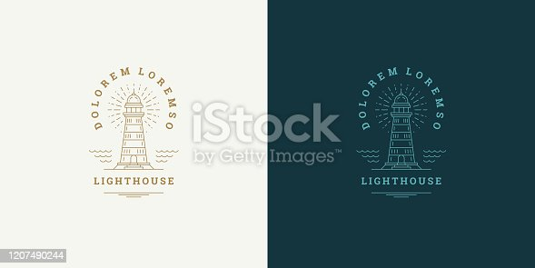 istock Lighthouse line symbol vector logo emblem design template illustration simple minimal linear style 1207490244
