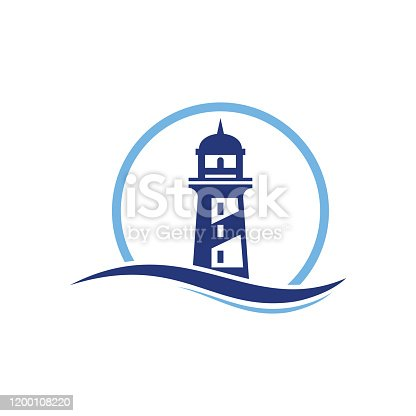 Lighthouse Logo circle abstract design vector template, lighthouse icon with ocean waves and seagulls.Lighthouse with waves simple logo, lighthouse icon design with ocean waves, Vector sign lighthouse