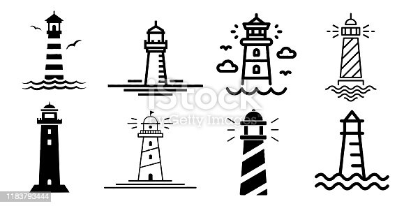 Lighthouse minimalistic flat line stroke outline vector icon set