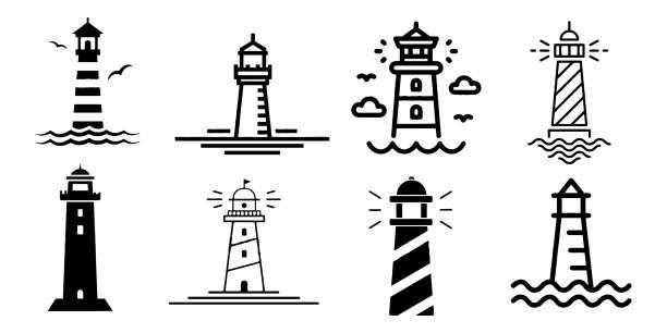 illustrations, cliparts, dessins animés et icônes de ensemble minimaliste d'icône de diagramme de diagramme de diagramme de diagramme de diagramme de diagramme de diagramme de diagramme de ligne plat de phare - phare