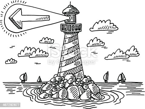 Hand-drawn vector drawing of a Lighthouse Navigation Concept, with an Arrow showing to the correct Direction. Black-and-White sketch on a transparent background (.eps-file). Included files are EPS (v10) and Hi-Res JPG.