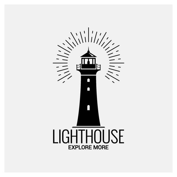 illustrations, cliparts, dessins animés et icônes de phare navigation logo vintage sur fond blanc - phare