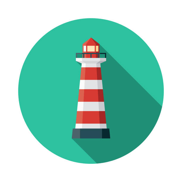 Lighthouse of Praia da Barra Portugal Icon A flat design icon with a long shadow. File is built in the CMYK color space for optimal printing. Color swatches are global so it's easy to change colors across the document. lighthouse stock illustrations