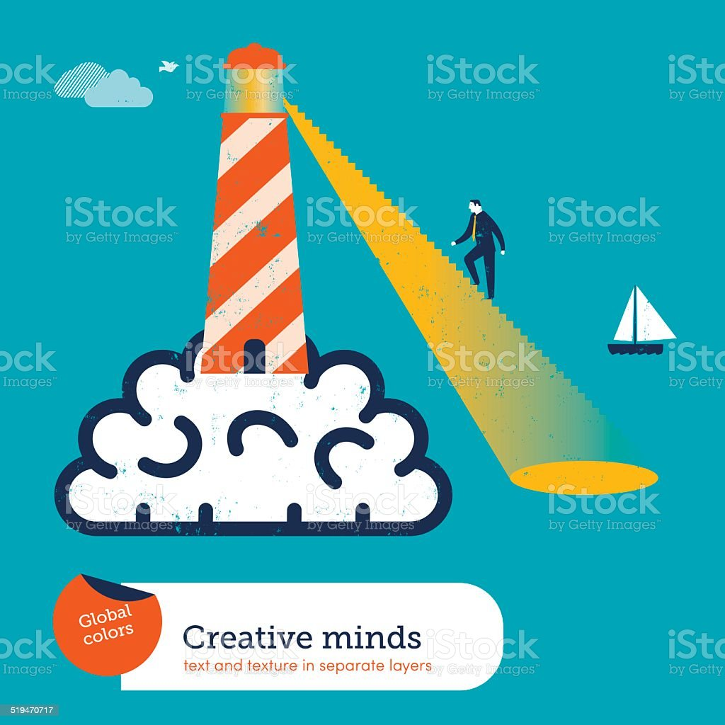 Lighthouse on a brain with stairs vector art illustration