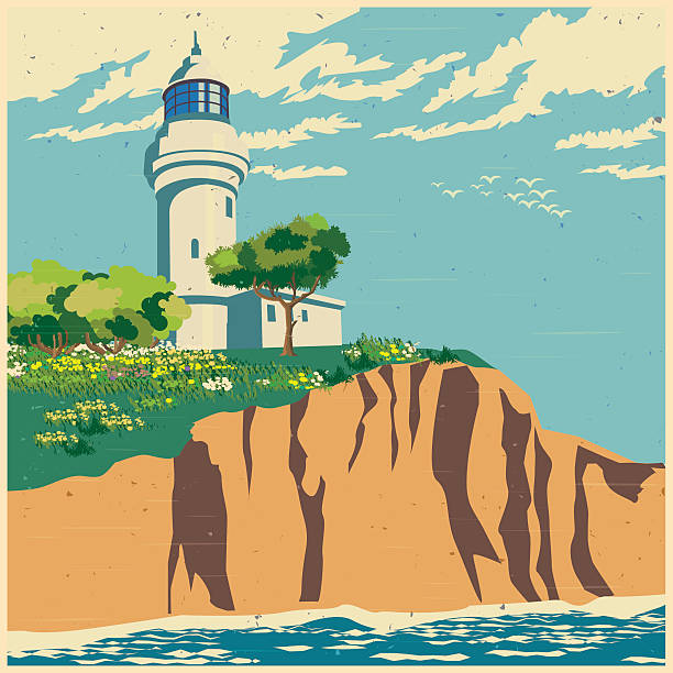 lighthouse on a cliff old poster Stylized vector illustration of a lighthouse on a cliff cliff stock illustrations