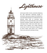 lighthouse on an island in the open sea. vector illustration on a white background