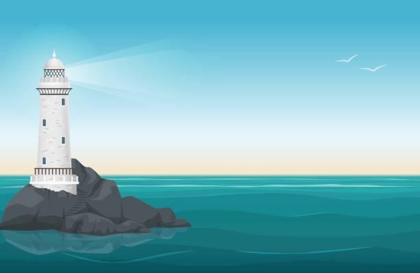leuchtturm auf steinen insel felslandschaft. navigation-beacon gebäude im ozean. vektor-illustration. - buchten stock-grafiken, -clipart, -cartoons und -symbole