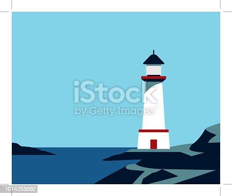 istock Lighthouse on rock stones 1014253592