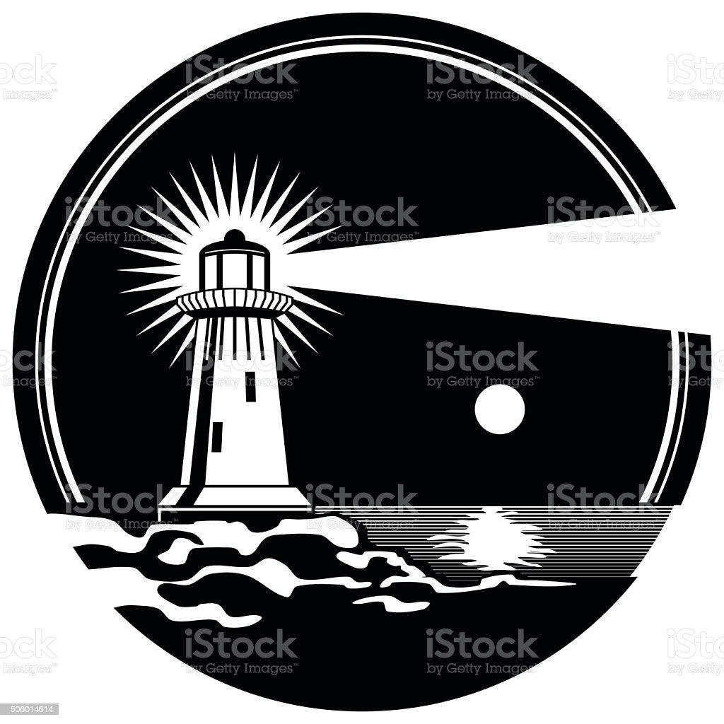 Lighthouse on the rocks shining moonlit night vector illustration vector art illustration