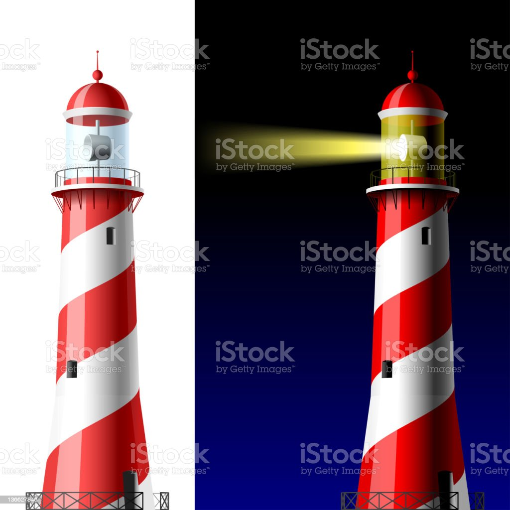 Lighthouse on white and dark royalty-free stock vector art