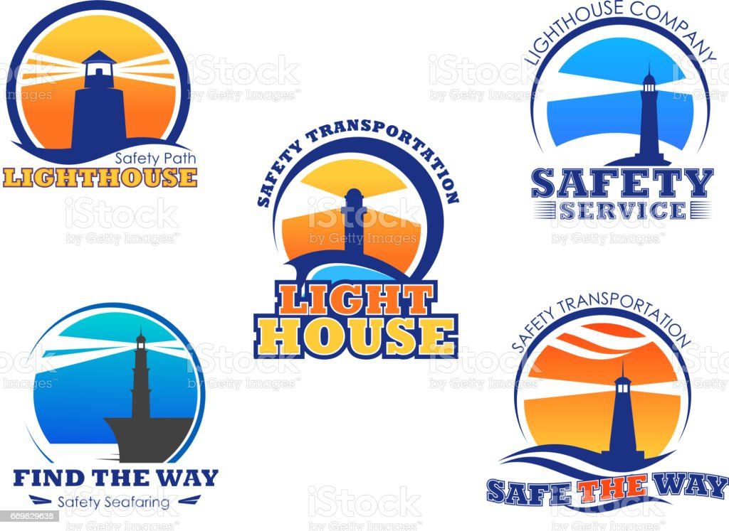 Lighthouse or beacon vector isolated icons set vector art illustration
