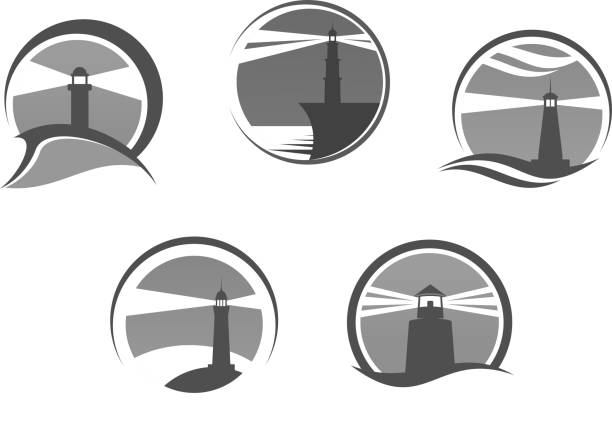 Lighthouse or beacon vector isolated icons set Lighthouse icons. Nautical or marine beacon on cliff rock vector isolated emblems set. Searchlight tower symbol of ship navigation with signal lights in sea or ocean storm weather lighthouse stock illustrations