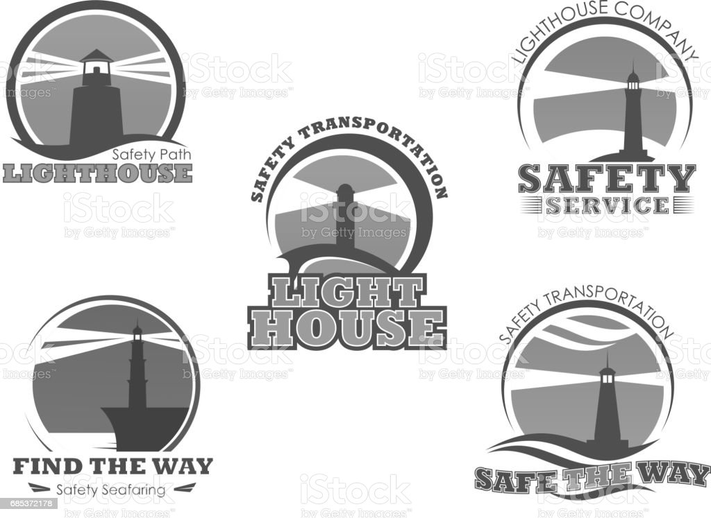 Lighthouse or marine safety beacon vector icons vector art illustration