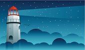 A lighthouse beams it's light over the foggy night sky. All colors are global. Both linear and radial gradients used.