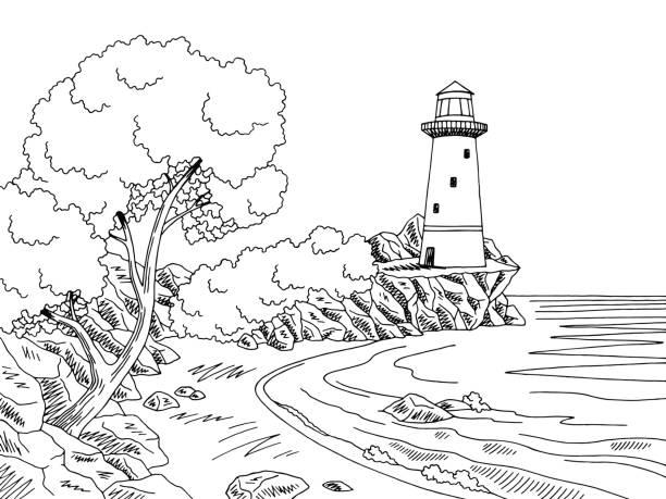 Lighthouse Sea Coast Graphic Black White Landscape Sketch Illustration Vector Art