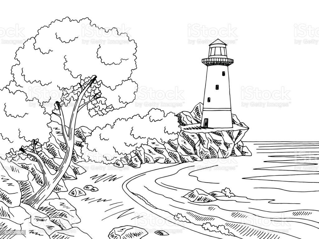 Lighthouse Sea Coast Graphic Black White Landscape Sketch Illustration  Vector Vector Art Illustration