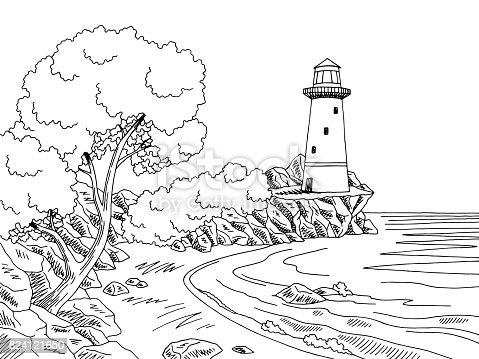 Lighthouse Sea Coast Graphic Black White Landscape Sketch ...