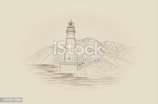 Lighthouse seaside view. Hand drawn seascape with beacon. Landscape sketch with lighthouse tower, sea and mountains