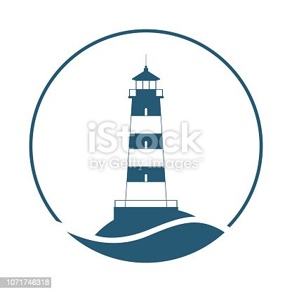 Lighthouse symbol. Logo design. Sign lighthouse isolated on white background. Vector illustration.
