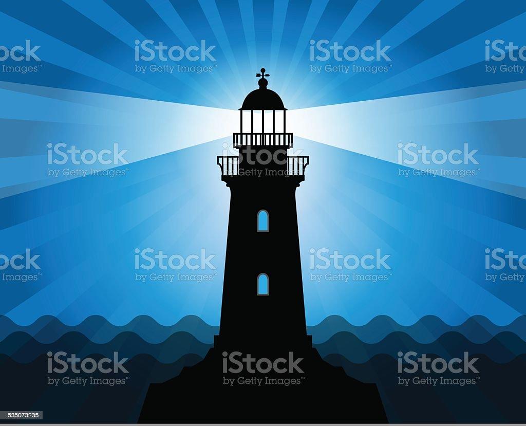 Lighthouse silhouette vector art illustration