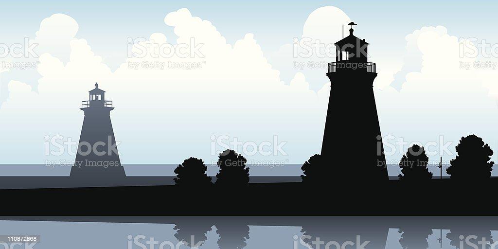 Lighthouse Silhouettes vector art illustration