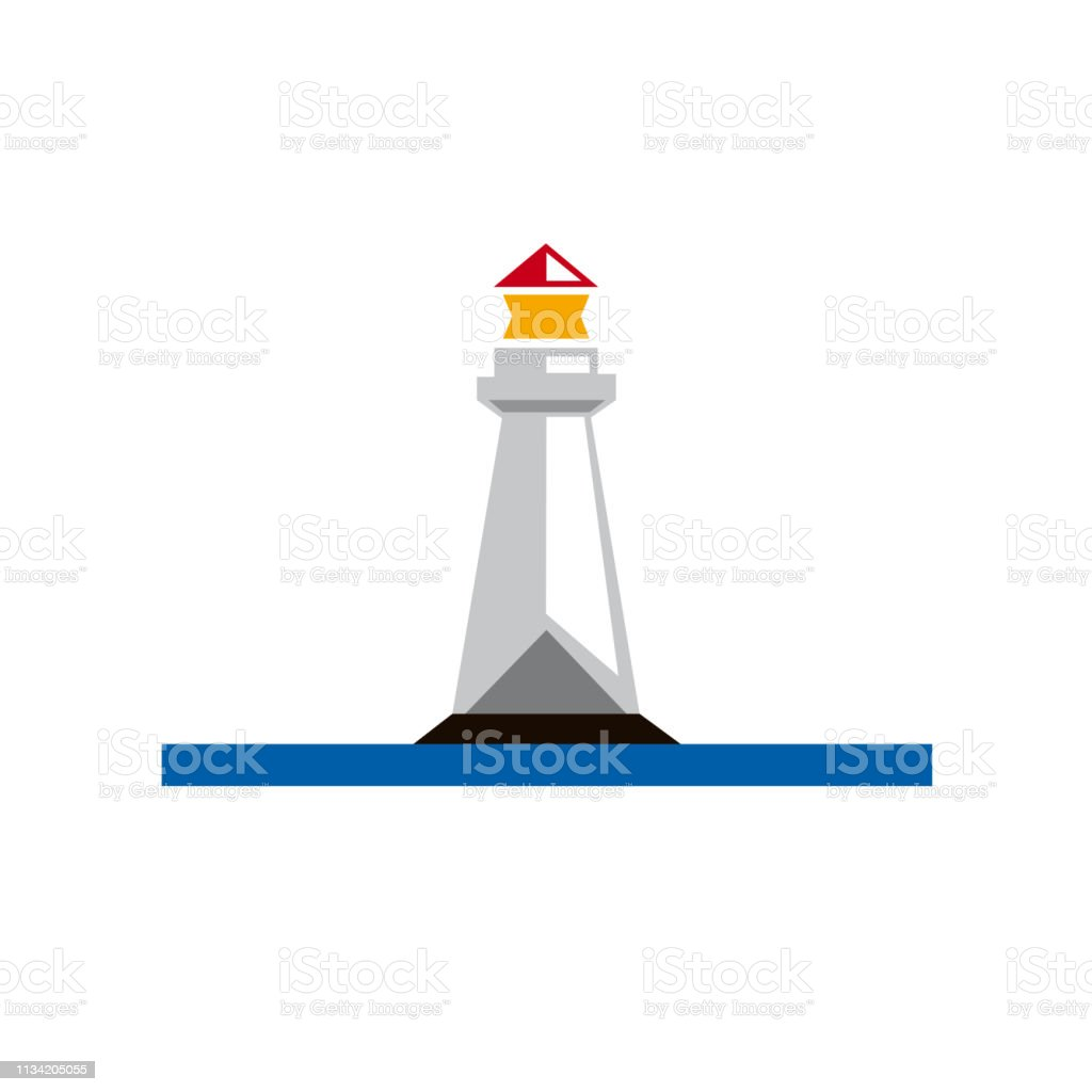 Lighthouse. Simple vector sign vector art illustration