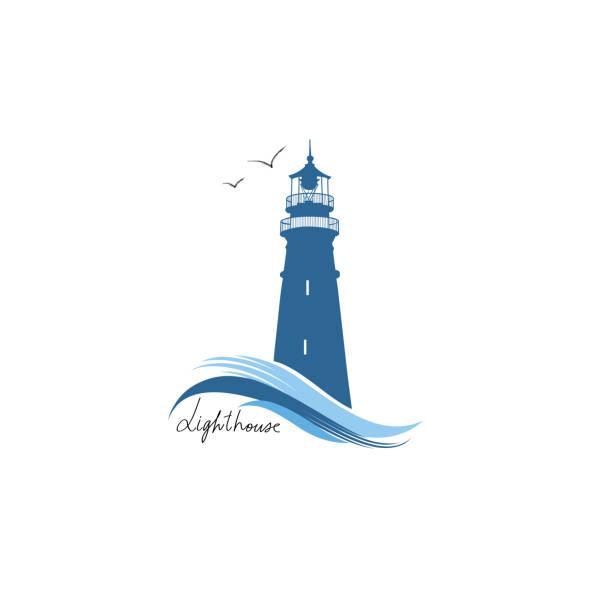 leuchtturmsymbol. von hand gezogenes skizzensymbol des leuchtturms mit meereswellen. nautisches etikettendesign - buchten stock-grafiken, -clipart, -cartoons und -symbole