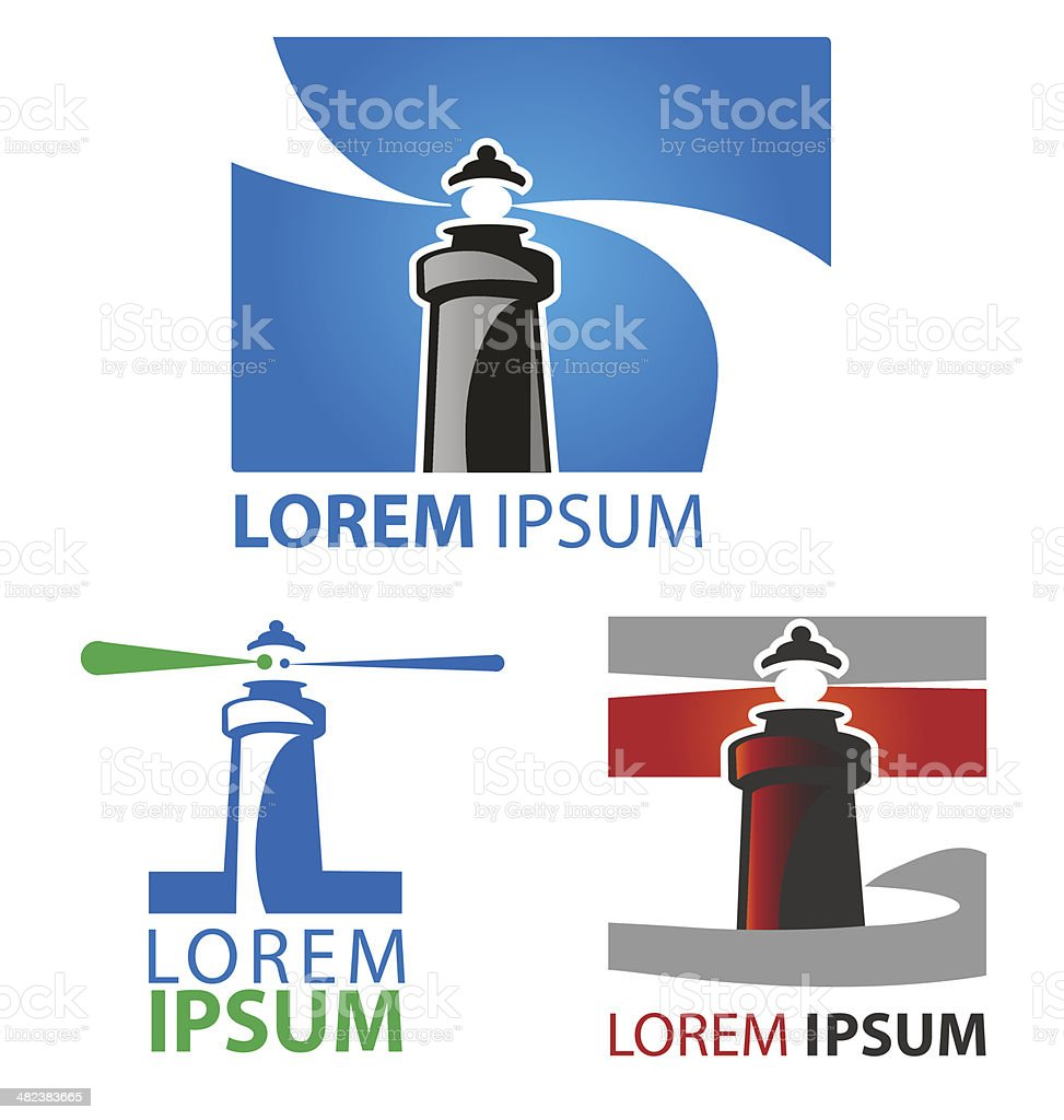 lighthouse symbol set vector art illustration
