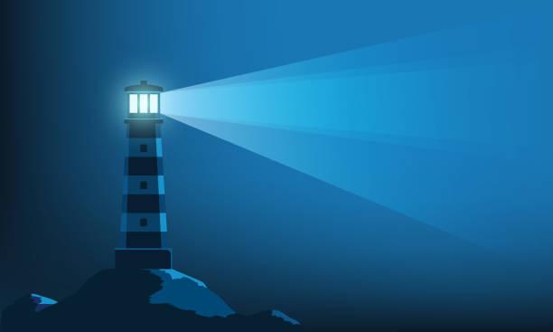 illustrations, cliparts, dessins animés et icônes de tour de phare avec un rayon de lumière dans l'obscurité - phare