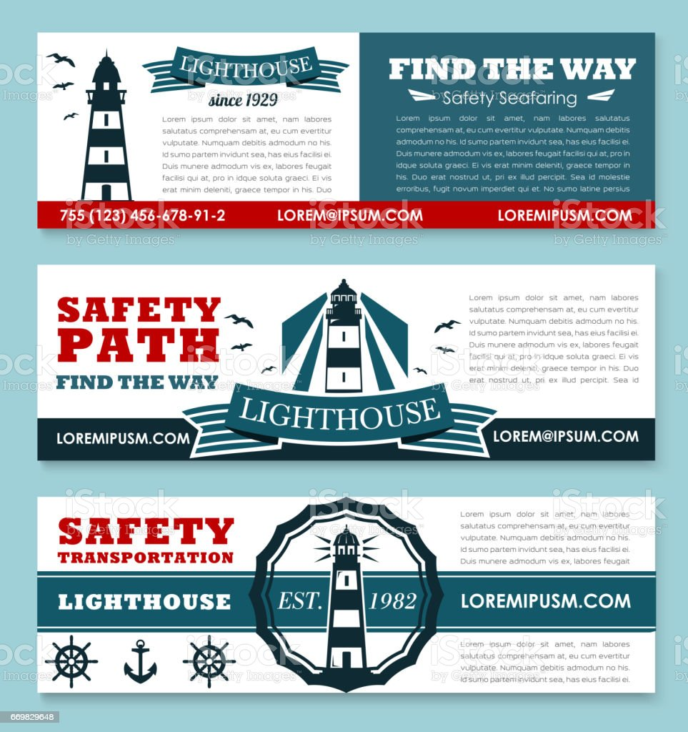 Lighthouse vector banners for safety seafaring vector art illustration