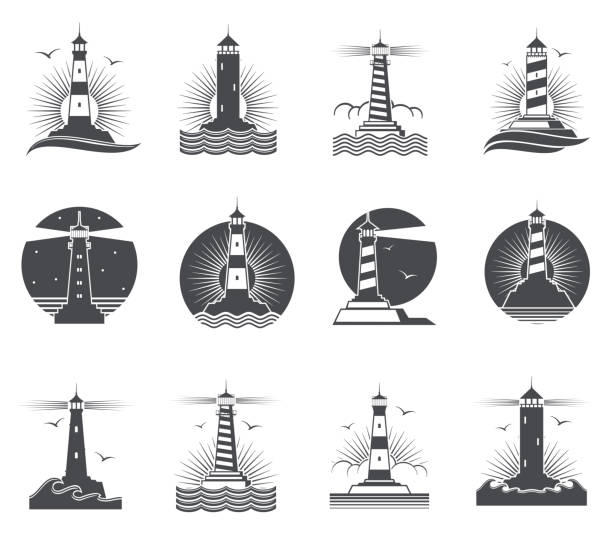 illustrations, cliparts, dessins animés et icônes de phare vector marine vintage des étiquettes. phares et océan vagues rétro nautique logos ensemble - phare