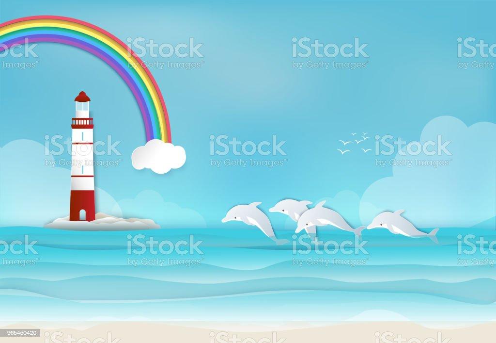 Farol com golfinho no mar e arco-íris fundo papel arte estilo - Vetor de Arco-íris royalty-free