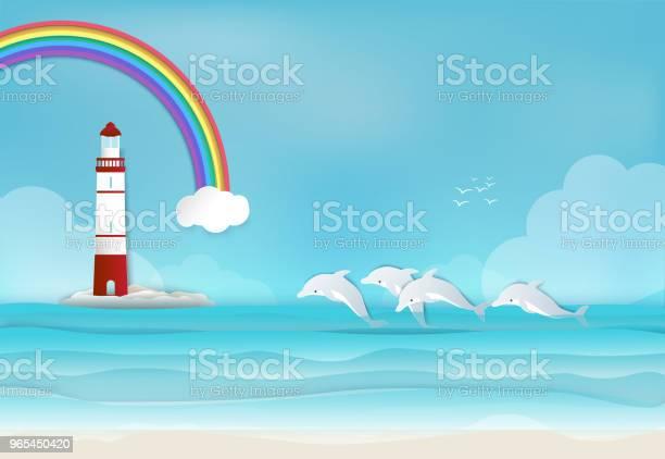 Vetores de Farol Com Golfinho No Mar E Arcoíris Fundo Papel Arte Estilo e mais imagens de Arco-íris