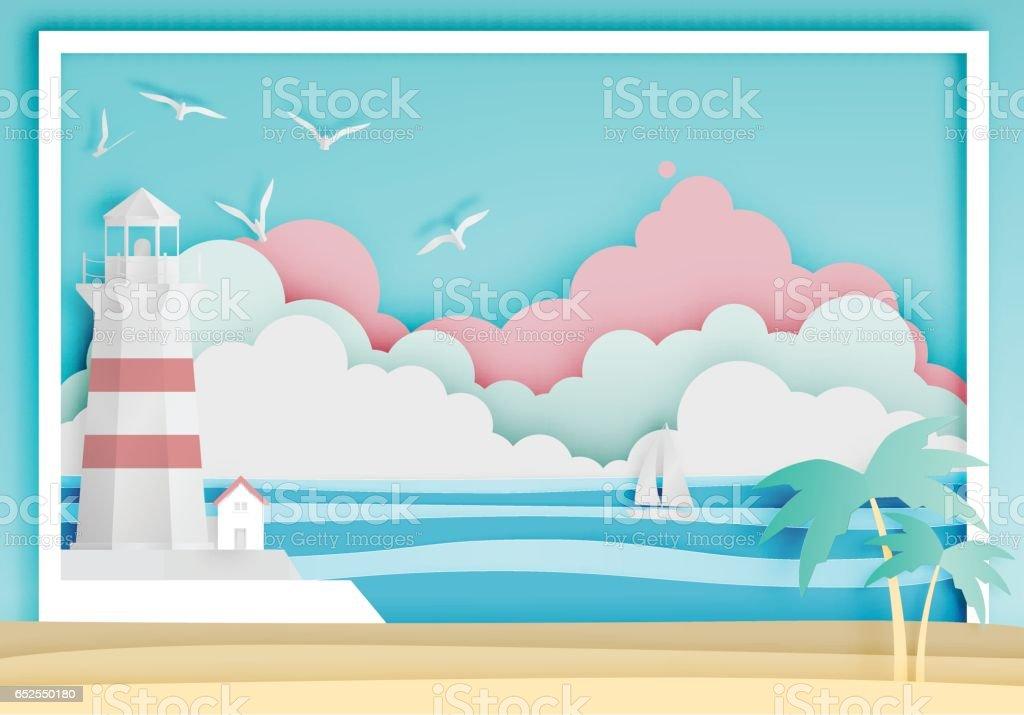 海背景フレーム紙アート スタイルと灯台 ベクターアートイラスト