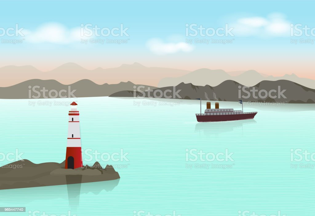 Lighthouse with Ocean liner in the ocean Paper craft illustration background. lighthouse with ocean liner in the ocean paper craft illustration background - stockowe grafiki wektorowe i więcej obrazów bez ludzi royalty-free