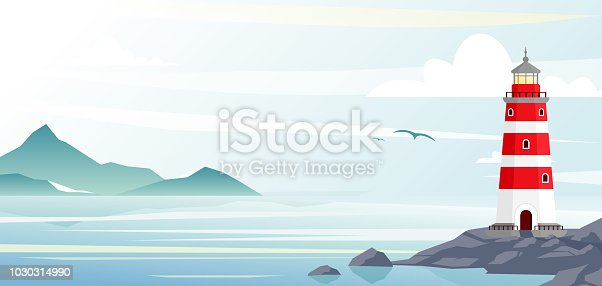 Lighthouse with ocean or sea beach view on background in flat style