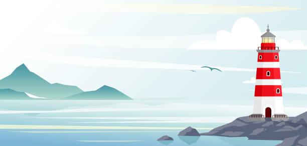 illustrations, cliparts, dessins animés et icônes de phare avec vue sur l'océan ou la mer plage sur fond plat style. - phare