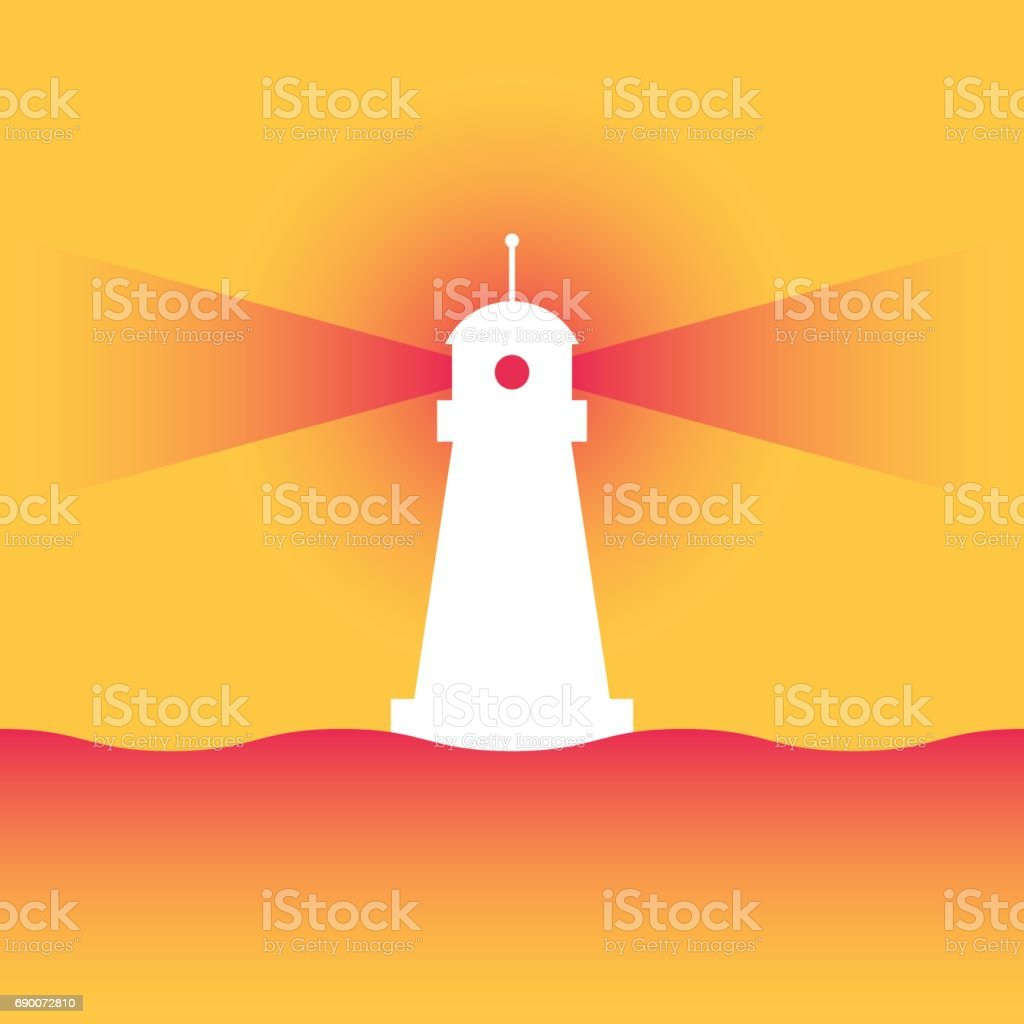 Lighthouse with rays vector art illustration