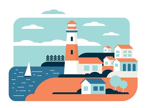 Lighthouse wonderful ocean landscape flat vector illustration