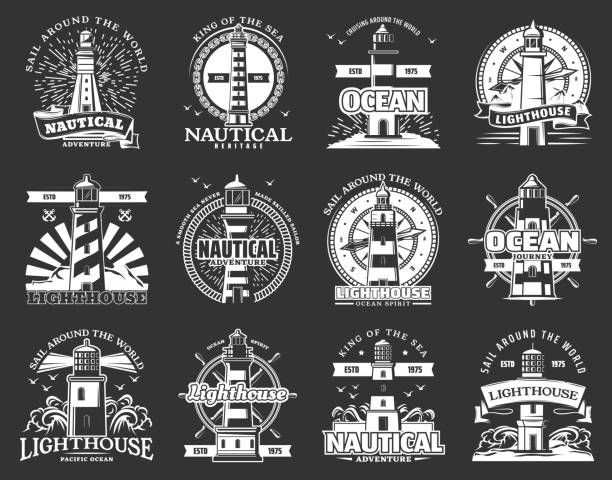 ilustrações de stock, clip art, desenhos animados e ícones de lighthouseand beacon icons, marine navigation - sextante