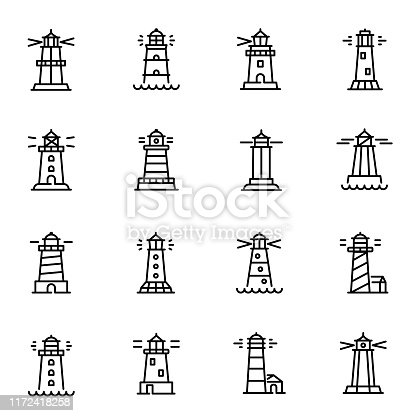 Lighthouses, navigational aid towers vector linear icons set. Searchlight thin line illustrations pack. Towers for marine navigation design elements. Beacon with beam isolated cliparts collection