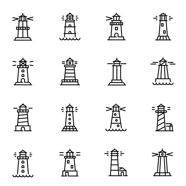 Lighthouses, navigational aid towers vector linear icons set vector art illustration