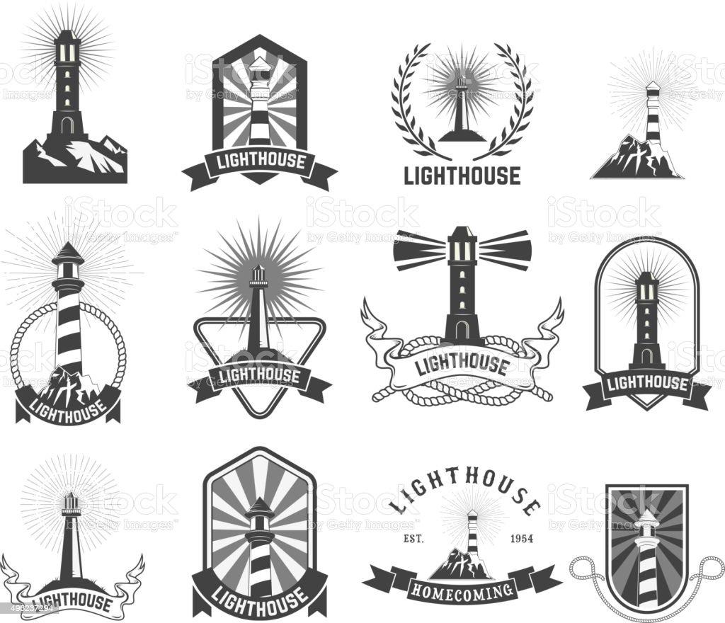 lighthouses vector art illustration